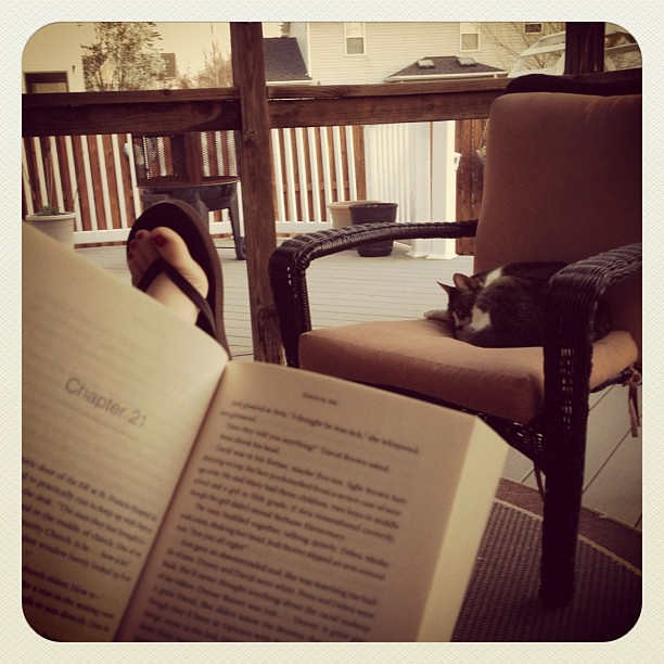 Reading a book on the back porch and wearing flip flops for the first time this year!!