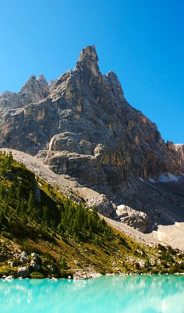 Lake Sorapis surroundings - Dolomites Mountains - Italy - Classified by UNESCO, as world heritage