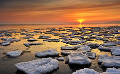 """Great Lakes Ice""   Lake Huron Sunrise - Port Hope, Michigan by Michigan Nut"