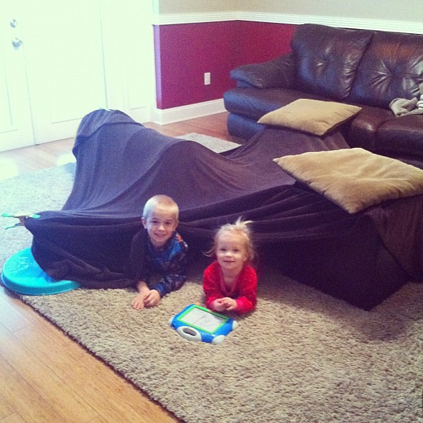 It's cold today so we're building a fort.