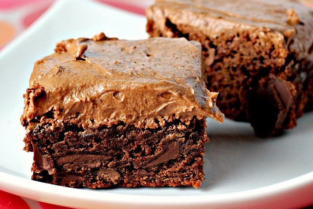 Chocolate Fudge Brownies with Chocolate Buttercream Frosting for the ...