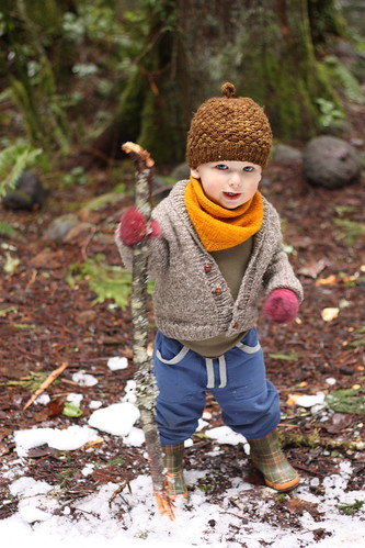Boy with Stick, Snow