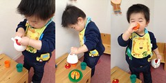 【妻撮影】自分でお茶を淹れて飲むセルフサービスとらちゃん(2012/2/13)