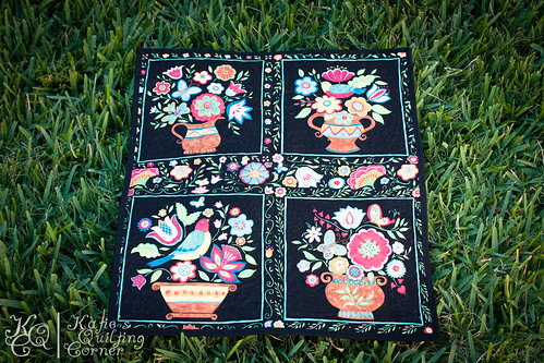 Black Floral Quilted Wallhanging