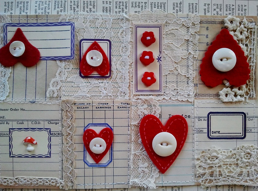 Vintage Blue Ledgers, Dennison Labels, and Red Hearts Tiny Book