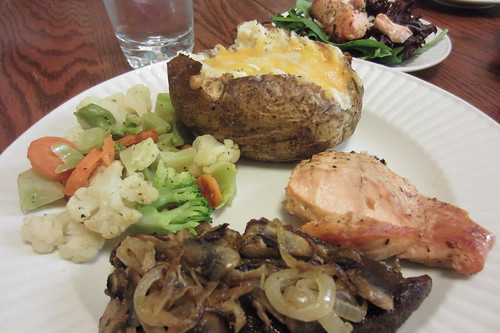 Valentine's Day Dinner Salmon, Steak, Streamed Veggies, Twice Baked Potato