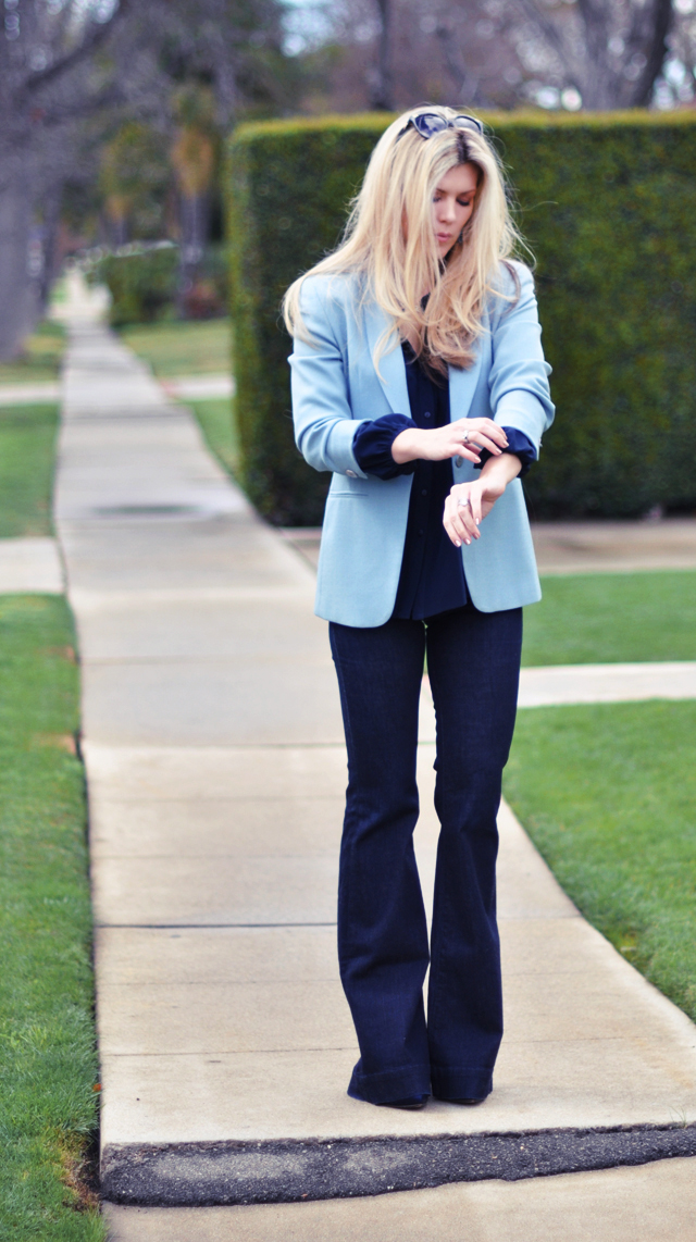 blue on blue on blue monochromatic outfit
