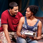 Jason Dirden as Kent and Nikkole Slater as Taylor in the Huntington Theatre Company's production of STICK FLY playing at the Calderwood Pavillion. Part of the 2009-2010 season.