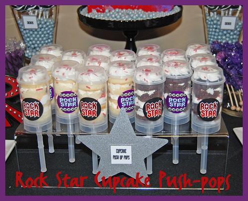 Rock Star 6th Birthday Dessert Buffet - Cupcake Push-up Pops