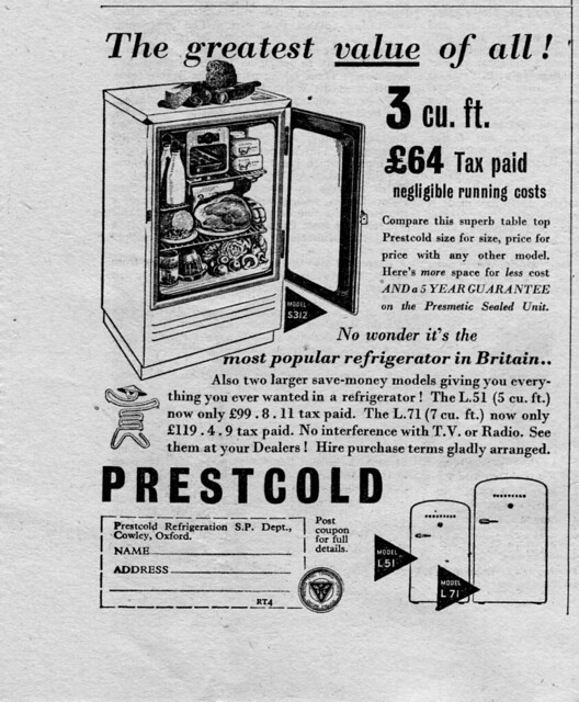 prestcold refrigeration - radio times 10 july 1953