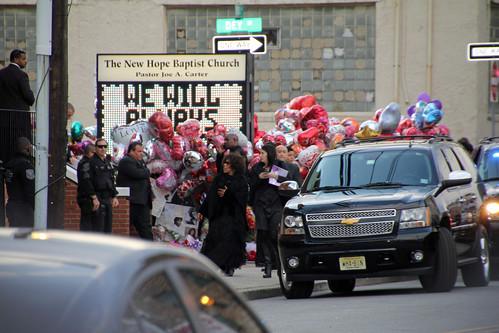 Singer Roberta Flack and N.J. Gov. Chris Christie leaving Whitney Houston funeral