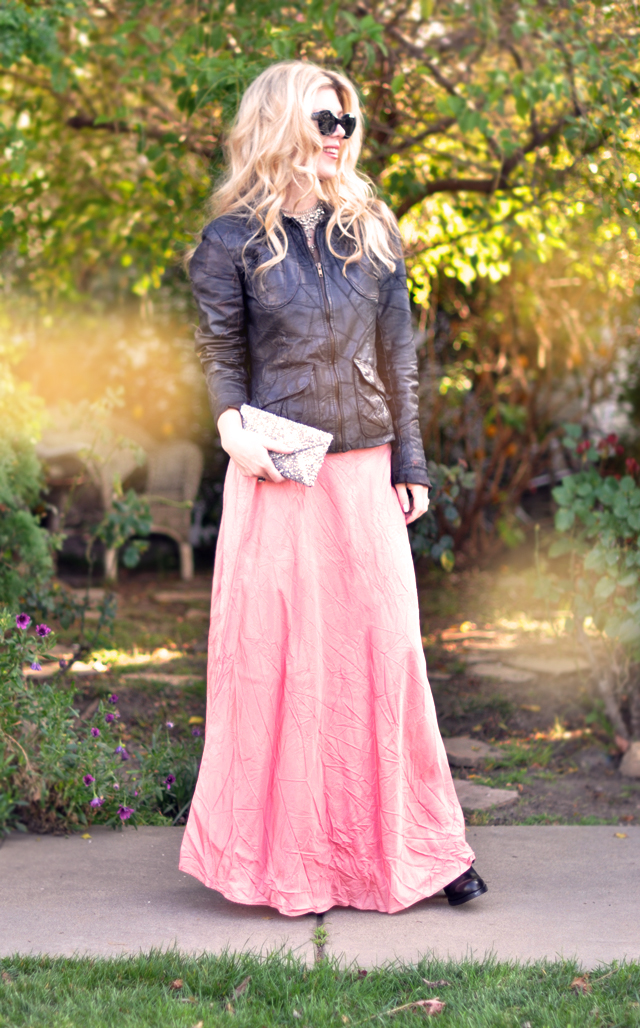 pink maxi skirt  SJP  with  leather jacket and boots-sequin clutch