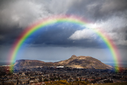 uk scotland rainbow edinburgh arthursseat salisburycrags