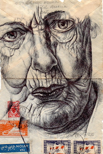 Bic Biro pen drawing on 1947 Republique Libanaise envelope