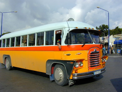 An old yellow bus from Malta