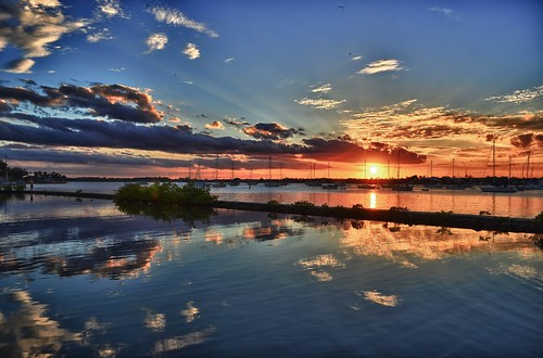sunset sky cloud sun reflection water clouds mirror day florida horizon vision distance pwpartlycloudy
