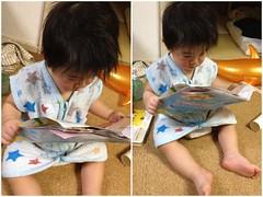 こどもちゃれんじのDMのパンフレットを読むよ^^ (2012/2/2 7)