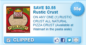 Rustic Crust All Natural Pizza Crust (available At Walmart In The Pasta Aisle)  Coupon