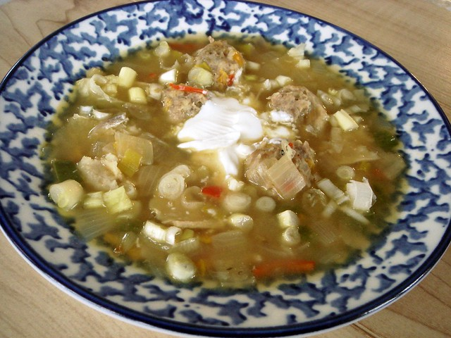 southwestern split pea soup with turkey meatballs