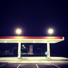 Night driving #fuelstation #station #esso #night #light #empty #igersfrance #road