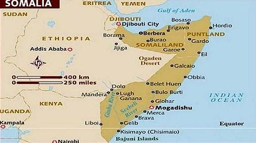 Map of politically fragmented Somalia. Protesters in Somaliland were attacked by police after demonstrating for the further break up of the northern enclave in the Horn of Africa state. by Pan-African News Wire File Photos