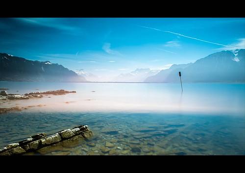 lake water landscape schweiz switzerland see nikon eau wasser suisse lac svizzera paysage landschaft vevey vaud genevalake lacléman romandie genfersee leefilter d700 nikkor2470mmf28 bigstopper gustavedeghilage