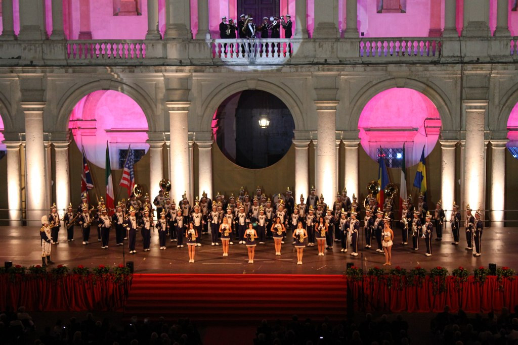 The University of Washington Husky Marching Band performs at the Ducal Palace as part of the Modena Tattoo in Italy