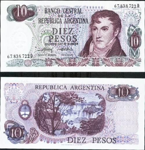 10 Pesos Argentína 1973-76, Pick 295