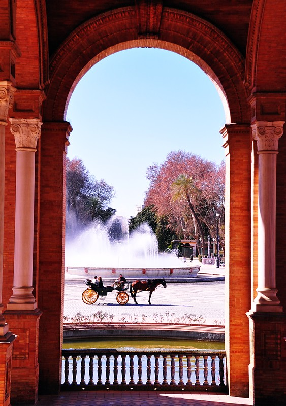 Horse and Carriage at Plaza de Espana in Seville