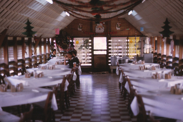 Saigon 1964 - Davis Station - Thanksgiving Dinner 1964 - white table cloths - mess hall always busy