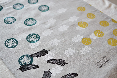 misprint 100% linen handprinted teatowel