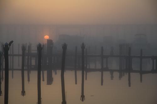 trestle bridge mist fog docks sunrise virginia day pilings neabsco