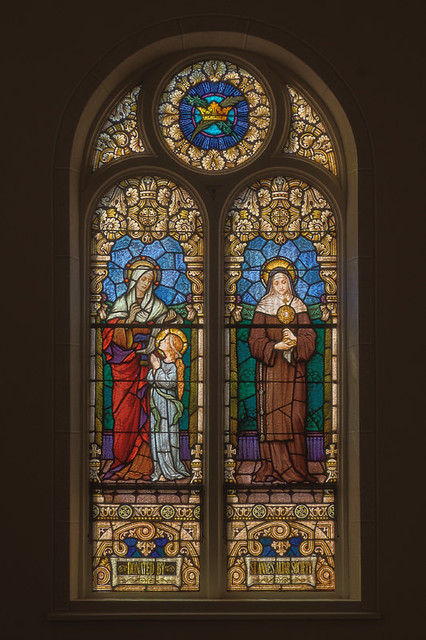 Church of the Risen Savior (Saint Joseph), in Rhineland, Missouri, USA - stained glass window with Saint Anne