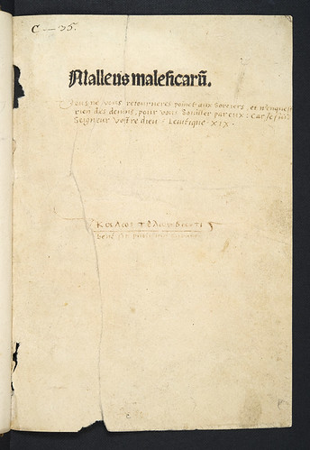 Title-page with annotations of Institoris, Henricus and Jacobus Sprenger: Malleus maleficarum
