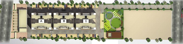 Layout Plan of Aristolia Hadapsar Fortune Associate's First Project of 2 BHK Flats -  784 - 834 Carpet + 2 Terraces - for the approximate all inclusive property price of Rs. 51 to 55 Lakhs - opposite Kumar Picasso 201 Sade Satra Nali Hadapsar Pune 411 028