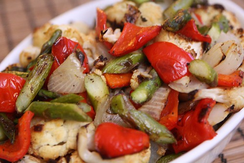 Roasted Spring Cauliflower with Asparagus, Red Pepper, and Onion