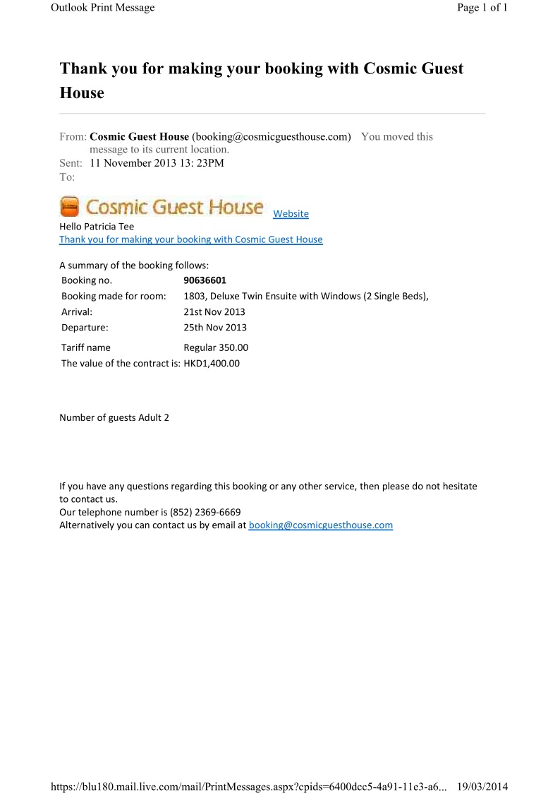 cosmic guest house booking confirmation