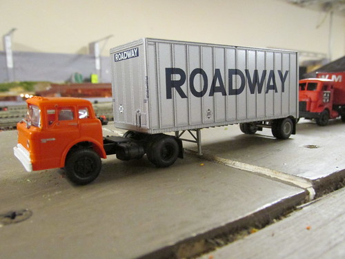 "An H.O Scale model of a Roadway Trucking Company Ford C Cab tractor and a 20 foot ""Pup"" trailer. by Eddie from Chicago"