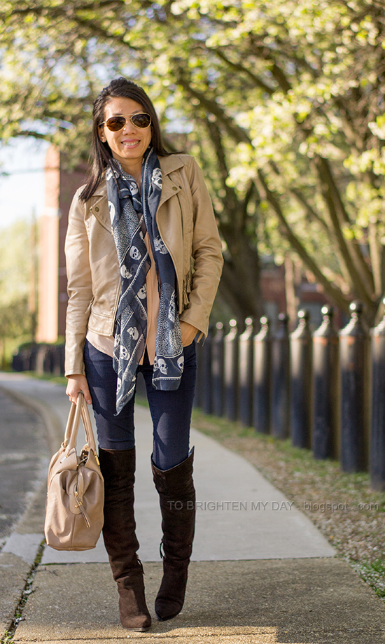tan leather jacket, peach blouse, navy printed scarf, over the knee brown suede boots