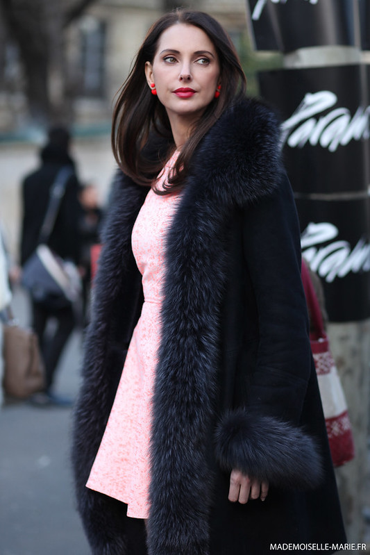 Frédérique Bel at Paris Fashion week, street style