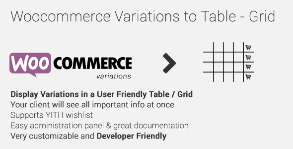 Woocommerce Variations to Table - Grid v1.2.3