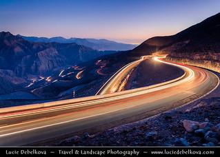 United Arab Emirates - UAE - Ras Al Khaimah Emirate - RAK - Jebel Jais Mountain Road at Dusk - Twilight - Blue Hour - Night