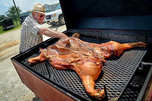 Pig pickin' dinner - almost ready to be served.