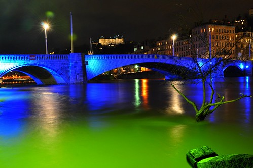 Night view of Saône river, Lyon-France