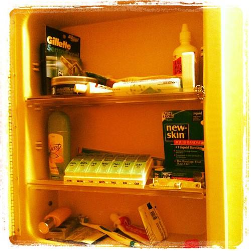 "#febphotoaday Feb 24 ""inside your bathroom cabinet"""