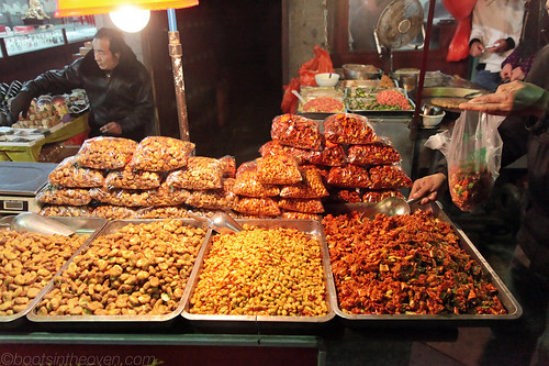 Various nuts and spicy brittles