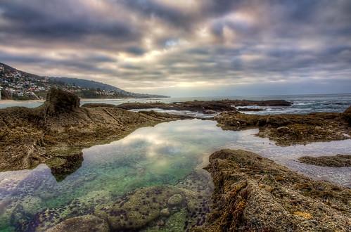 beach clouds sunrise montage tidepools hdr lagunabeach