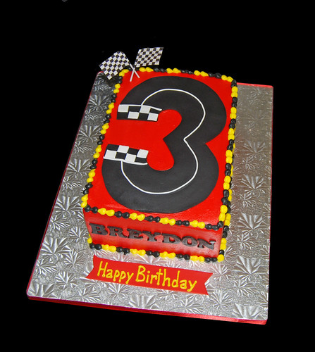 3rd birthday racecar track birthday cake