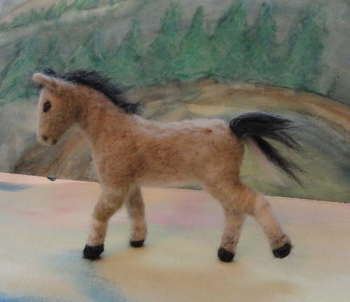 Needle felted buckskin foal