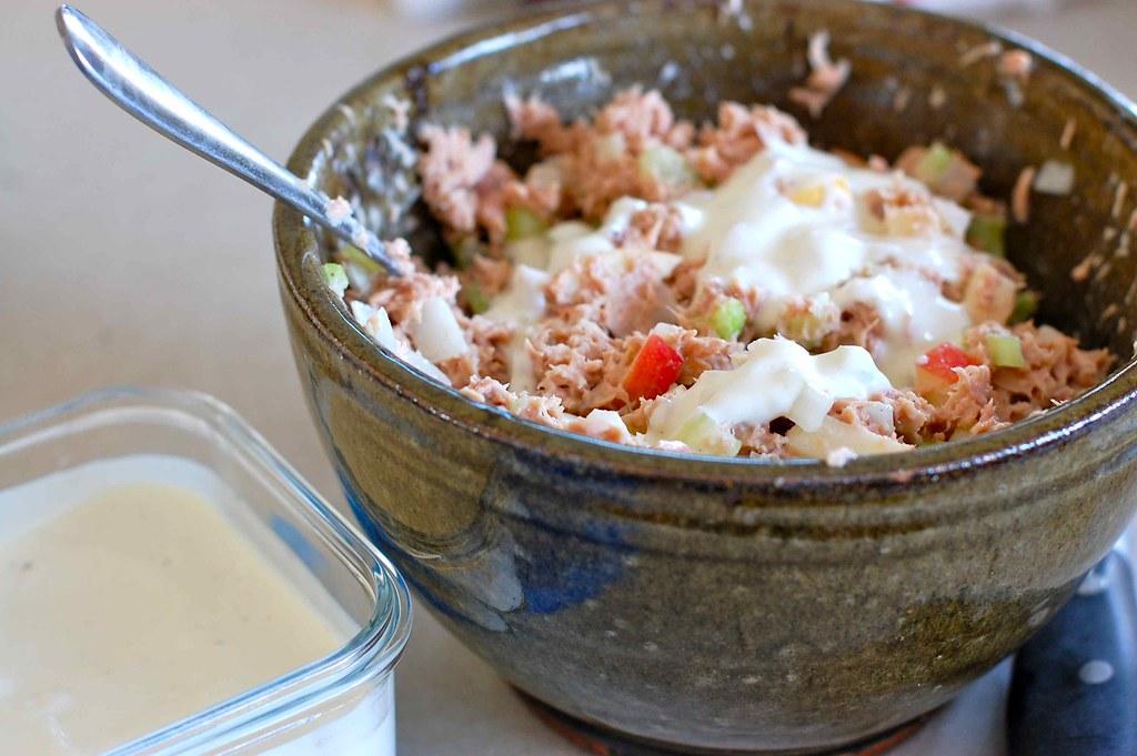 tofu mayo and apple tuna salad